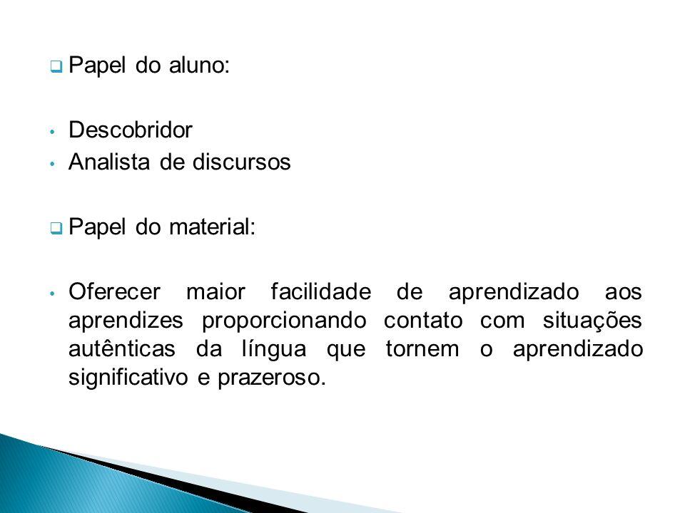Papel do aluno:Descobridor. Analista de discursos. Papel do material: