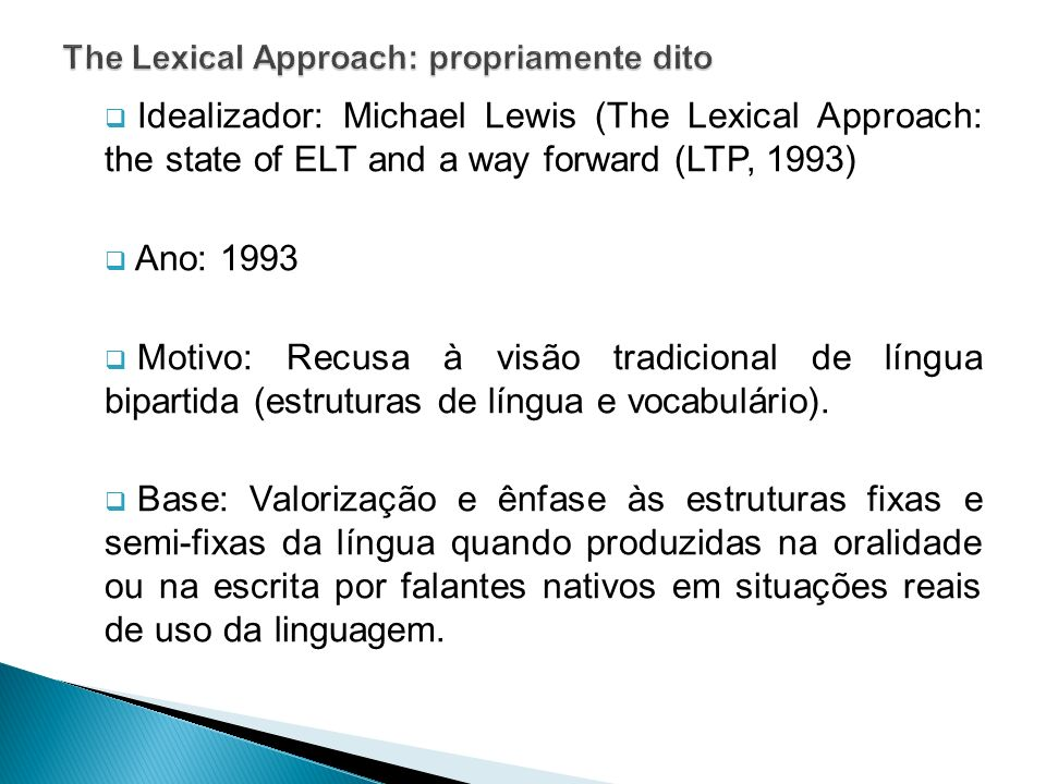 The Lexical Approach: propriamente dito
