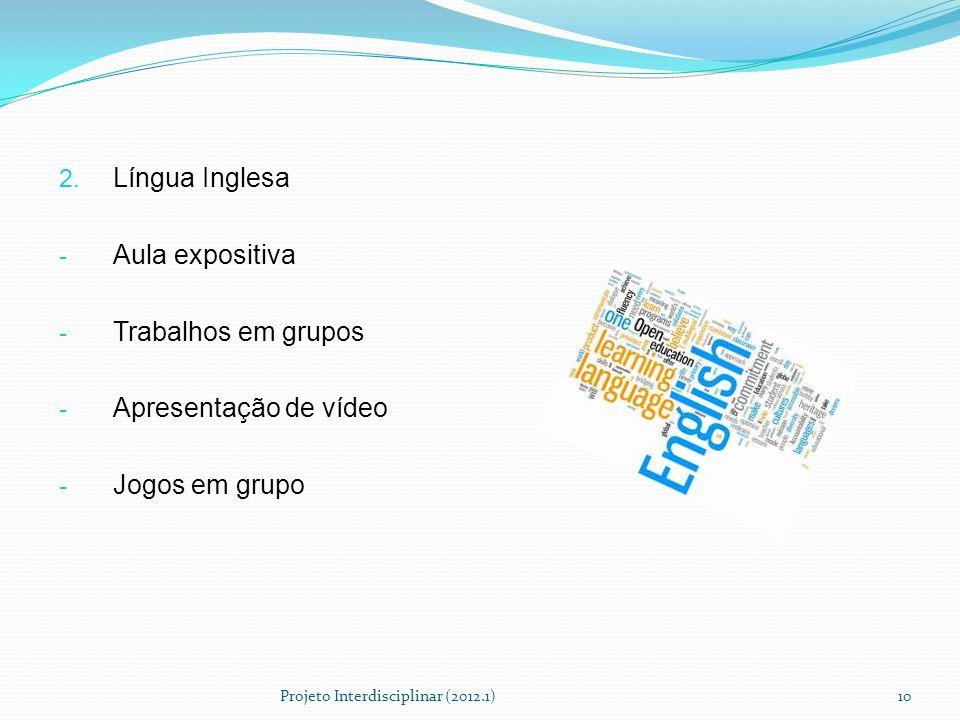 Língua Inglesa Aula expositiva Trabalhos em grupos