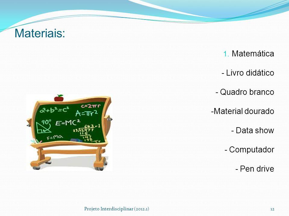Materiais: Matemática - Livro didático - Quadro branco