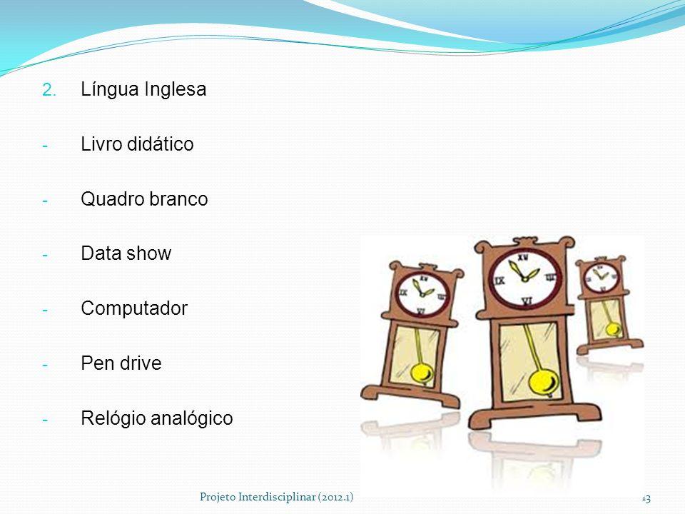 Língua Inglesa Livro didático Quadro branco Data show Computador
