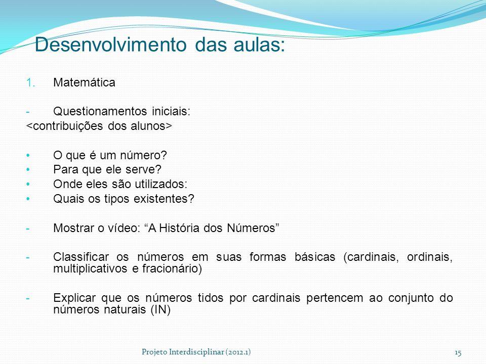 Desenvolvimento das aulas: