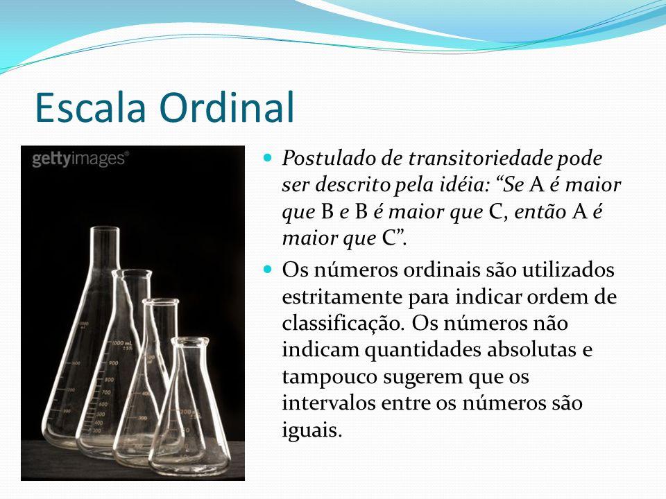 Escala Ordinal Postulado de transitoriedade pode ser descrito pela idéia: Se A é maior que B e B é maior que C, então A é maior que C .