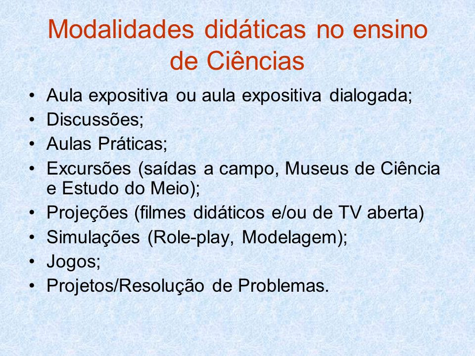 Modalidades didáticas no ensino de Ciências