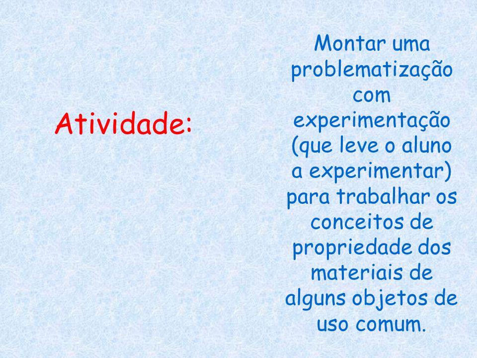 Montar uma problematização com experimentação (que leve o aluno a experimentar) para trabalhar os conceitos de propriedade dos materiais de alguns objetos de uso comum.