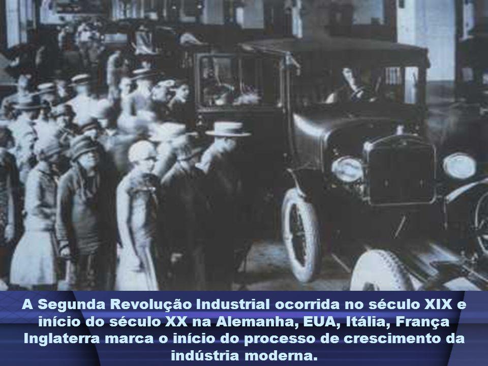 A Segunda Revolução Industrial ocorrida no século XIX e início do século XX na Alemanha, EUA, Itália, França Inglaterra marca o início do processo de crescimento da indústria moderna.