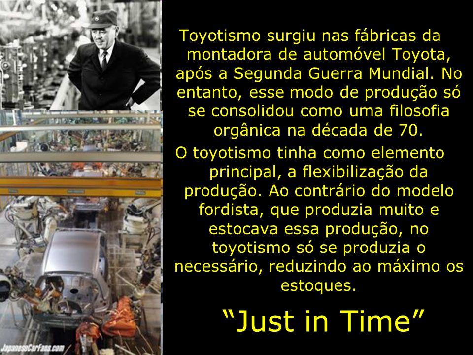 Toyotismo surgiu nas fábricas da montadora de automóvel Toyota, após a Segunda Guerra Mundial. No entanto, esse modo de produção só se consolidou como uma filosofia orgânica na década de 70.