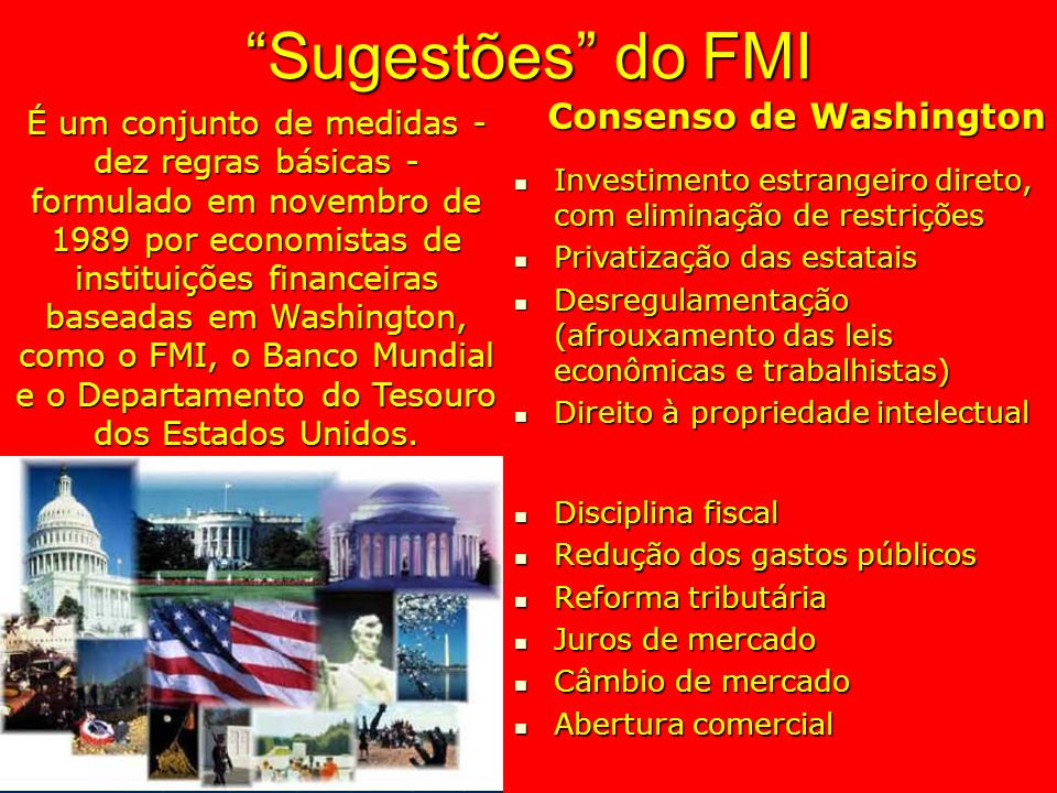 Sugestões do FMI Consenso de Washington