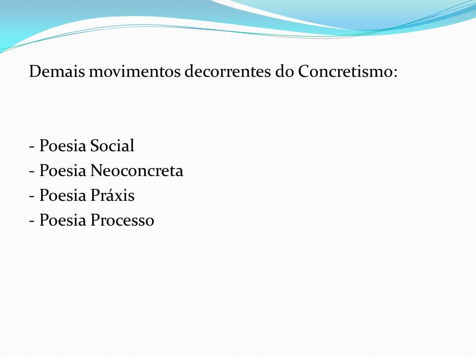 Demais movimentos decorrentes do Concretismo: - Poesia Social - Poesia Neoconcreta - Poesia Práxis - Poesia Processo