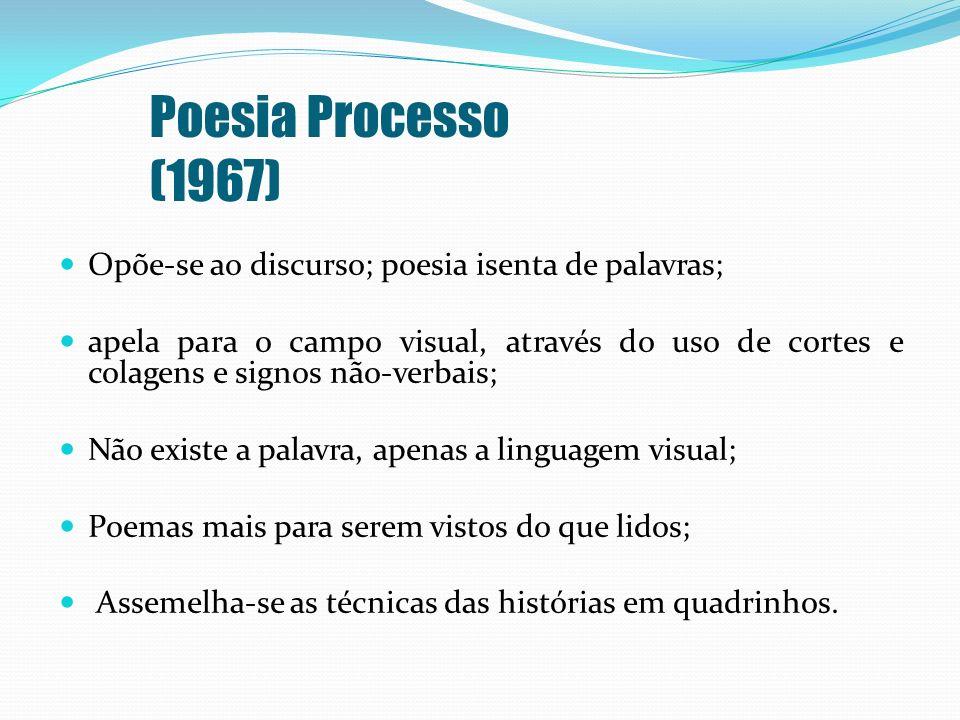 Poesia Processo (1967) Opõe-se ao discurso; poesia isenta de palavras;