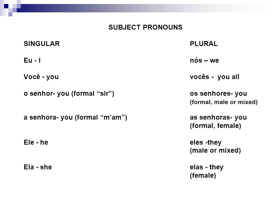 SUBJECT PRONOUNSSINGULAR PLURAL. Eu - I nós – we. Você - you vocês - you all. o senhor- you (formal sir ) os senhores- you.