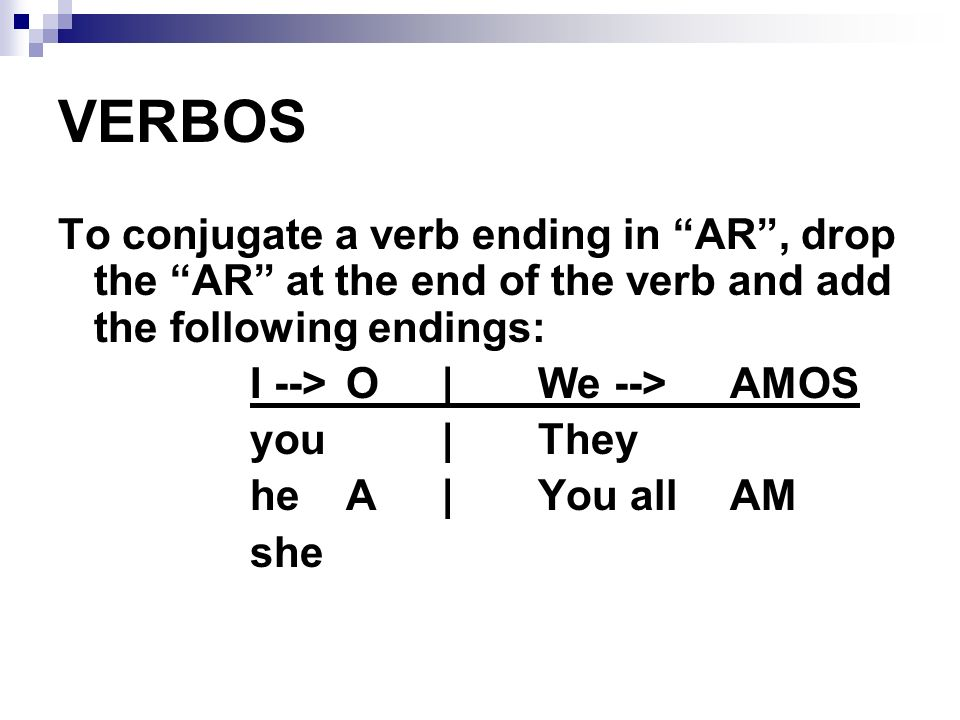 VERBOS To conjugate a verb ending in AR , drop the AR at the end of the verb and add the following endings: