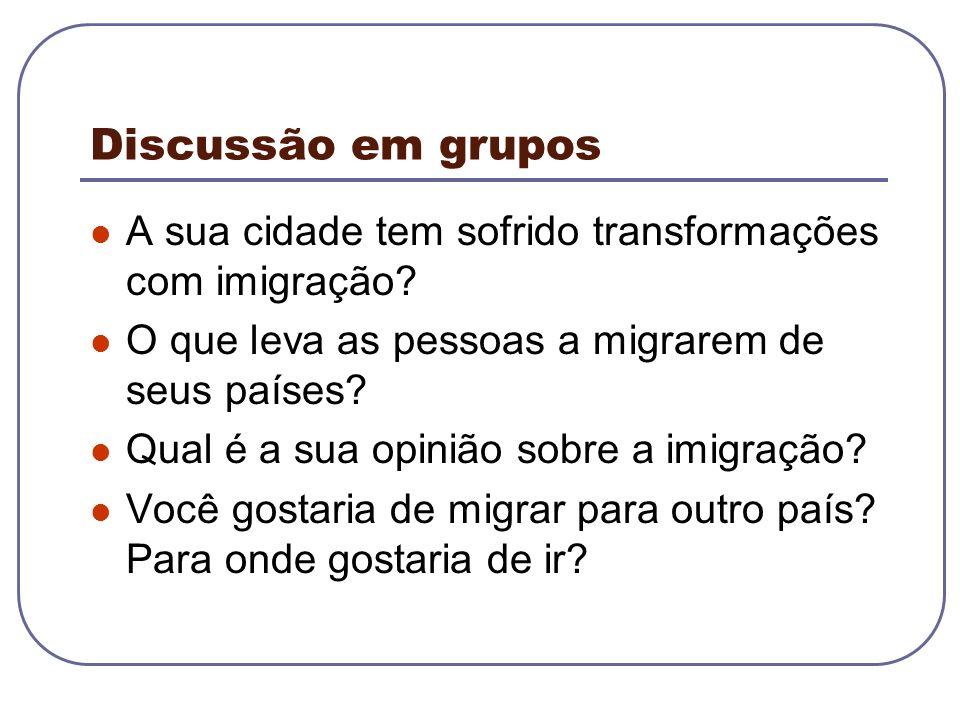 Discussão em grupos A sua cidade tem sofrido transformações com imigração O que leva as pessoas a migrarem de seus países
