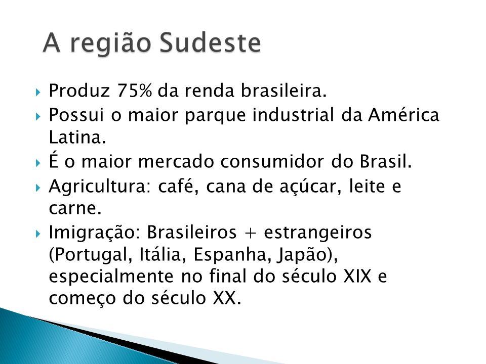Produz 75% da renda brasileira.