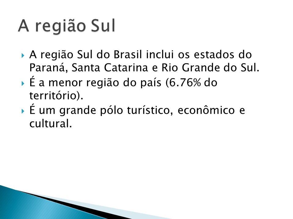 A região Sul A região Sul do Brasil inclui os estados do Paraná, Santa Catarina e Rio Grande do Sul.