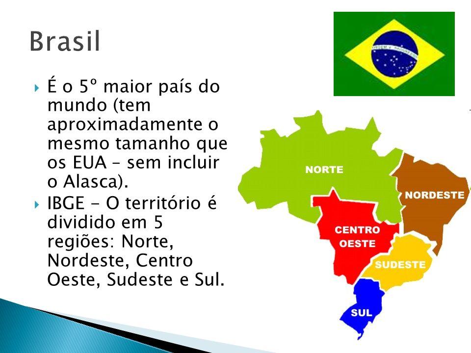 Brasil É o 5º maior país do mundo (tem aproximadamente o mesmo tamanho que os EUA – sem incluir o Alasca).