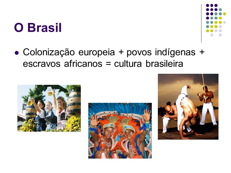 O Brasil Colonização europeia + povos indígenas + escravos africanos = cultura brasileira