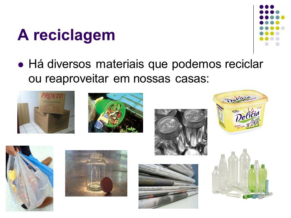 A reciclagem Há diversos materiais que podemos reciclar ou reaproveitar em nossas casas: