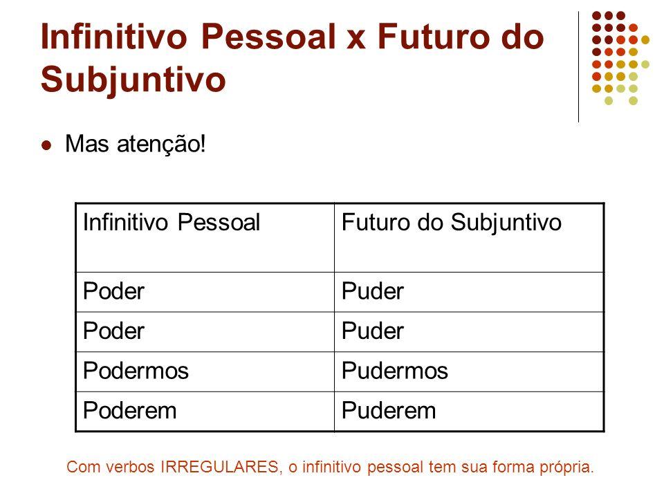 Infinitivo Pessoal x Futuro do Subjuntivo