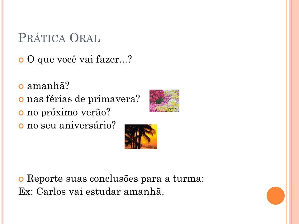 Prática Oral O que você vai fazer... amanhã nas férias de primavera