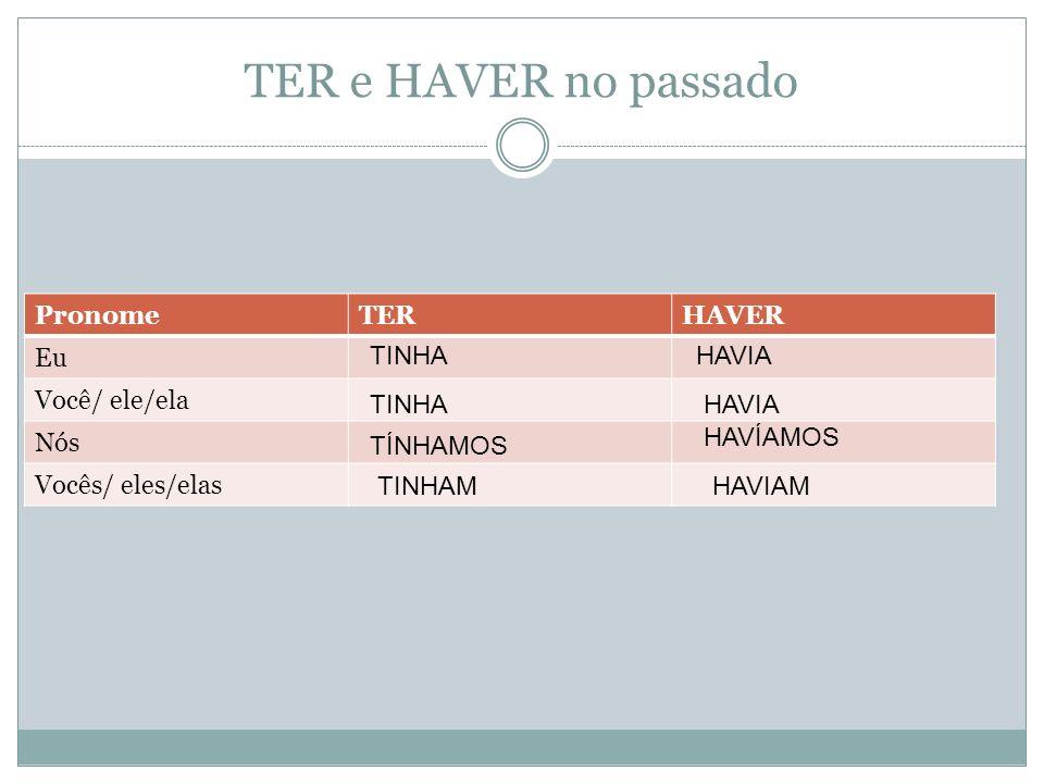TER e HAVER no passado Pronome TER HAVER Eu Você/ ele/ela Nós