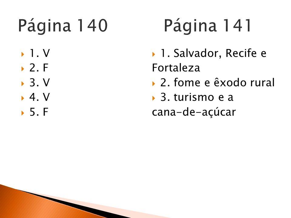 Página 140 Página 141 1. V 2. F 3. V 4. V 5. F 1. Salvador, Recife e