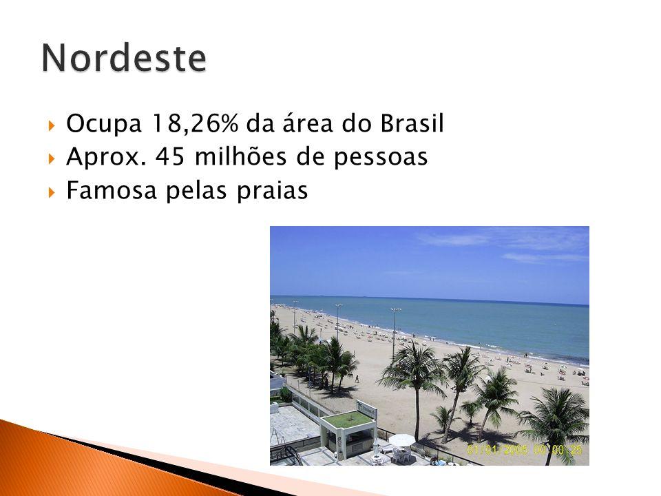 Nordeste Ocupa 18,26% da área do Brasil Aprox. 45 milhões de pessoas
