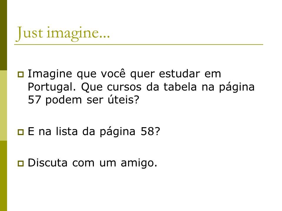 Just imagine... Imagine que você quer estudar em Portugal. Que cursos da tabela na página 57 podem ser úteis