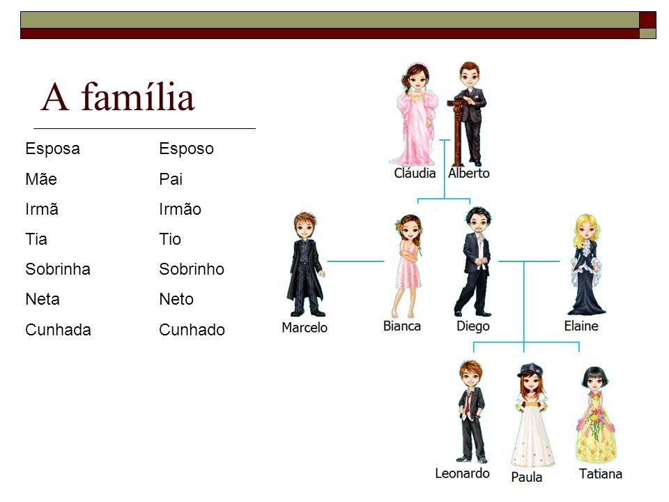 A família Esposa Esposo Mãe Pai Irmã Irmão Tia Tio Sobrinha Sobrinho
