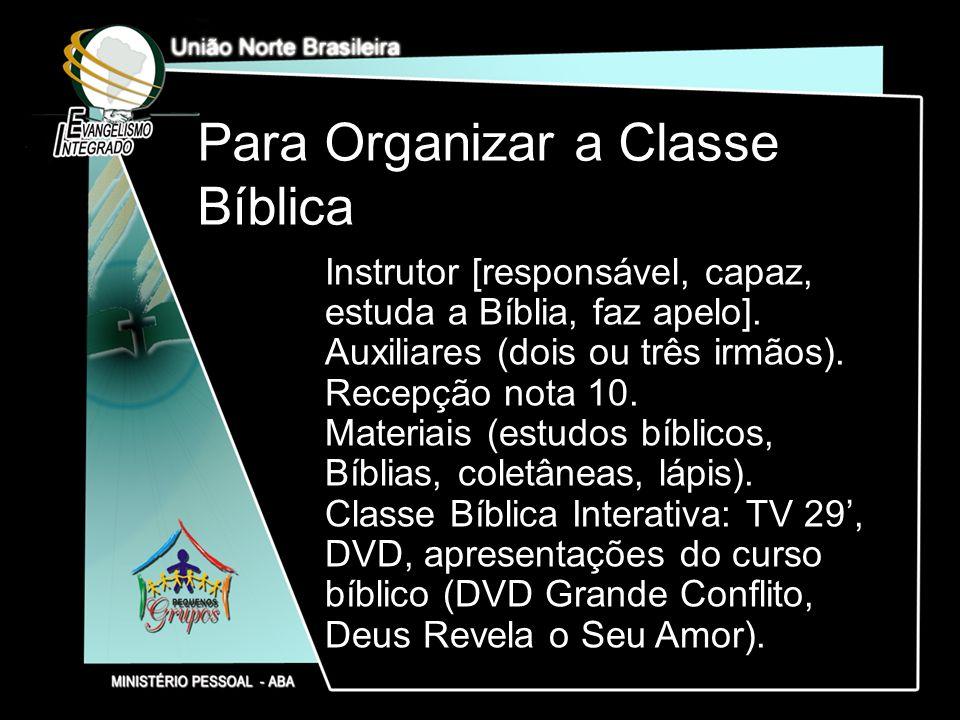 Para Organizar a Classe Bíblica
