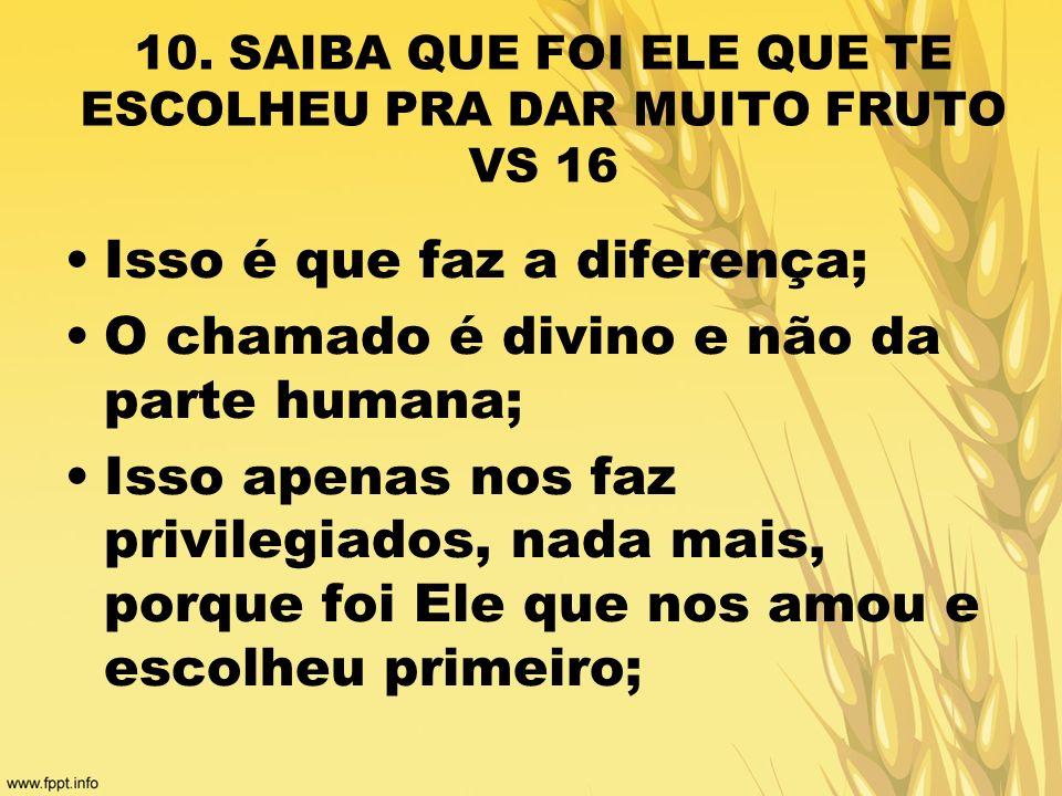 10. SAIBA QUE FOI ELE QUE TE ESCOLHEU PRA DAR MUITO FRUTO VS 16