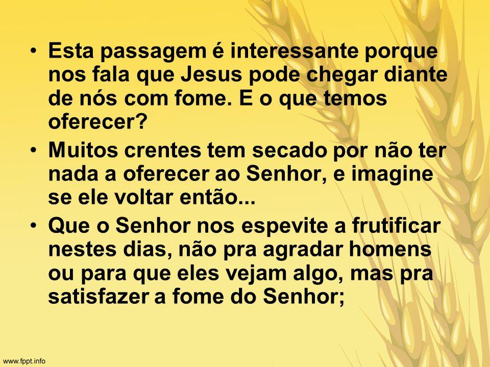 Esta passagem é interessante porque nos fala que Jesus pode chegar diante de nós com fome. E o que temos oferecer