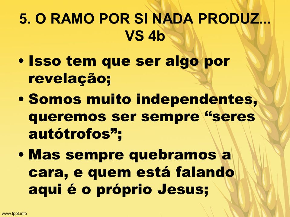 5. O RAMO POR SI NADA PRODUZ... VS 4b