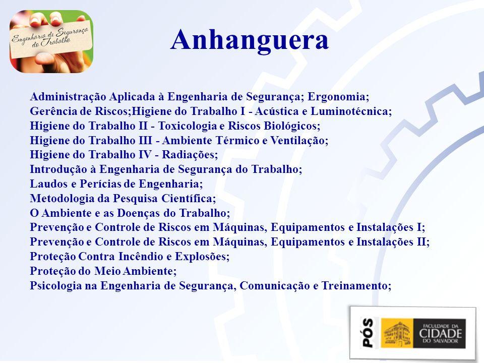 Anhanguera Administração Aplicada à Engenharia de Segurança; Ergonomia;
