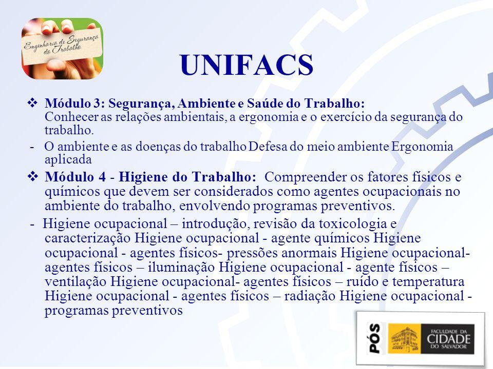 UNIFACS Módulo 3: Segurança, Ambiente e Saúde do Trabalho: Conhecer as relações ambientais, a ergonomia e o exercício da segurança do trabalho.