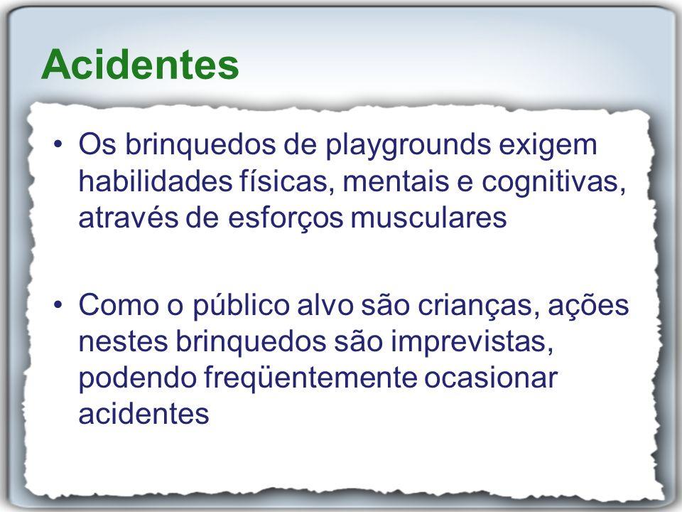 Acidentes Os brinquedos de playgrounds exigem habilidades físicas, mentais e cognitivas, através de esforços musculares.