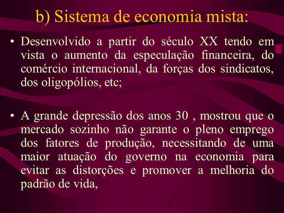 b) Sistema de economia mista: