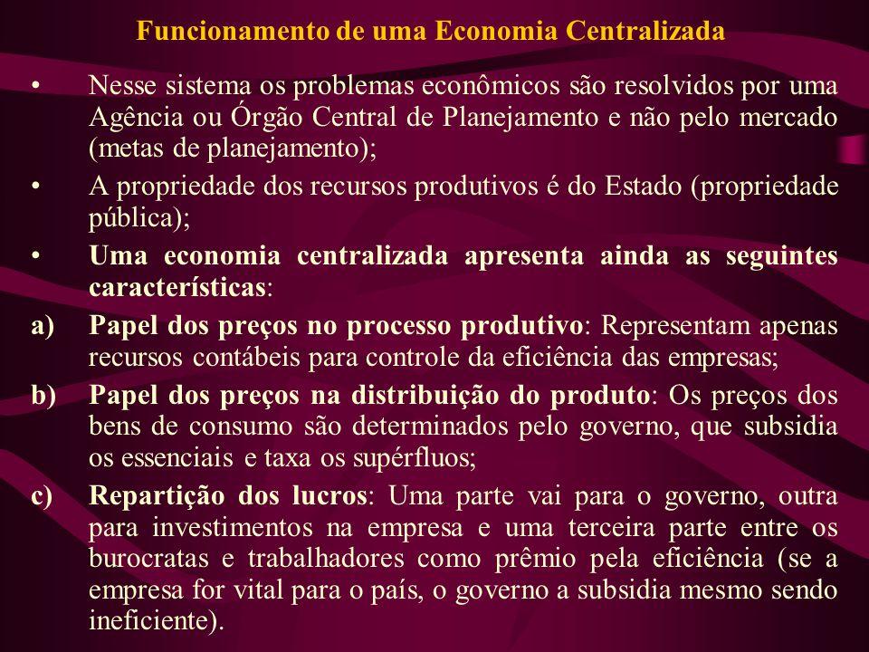 Funcionamento de uma Economia Centralizada