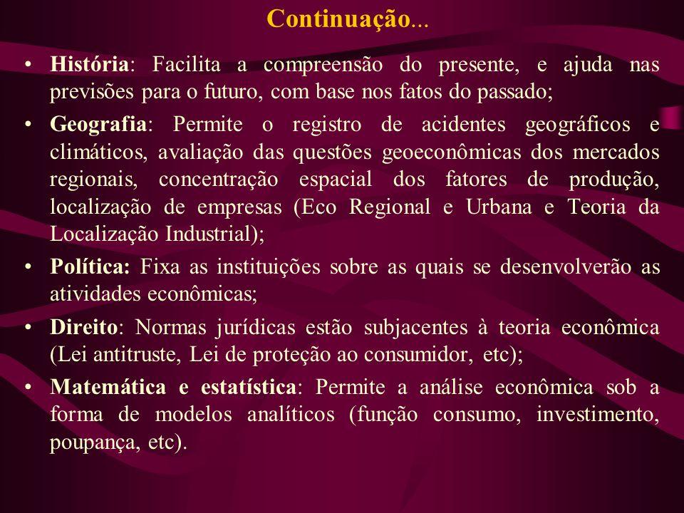 Continuação...História: Facilita a compreensão do presente, e ajuda nas previsões para o futuro, com base nos fatos do passado;
