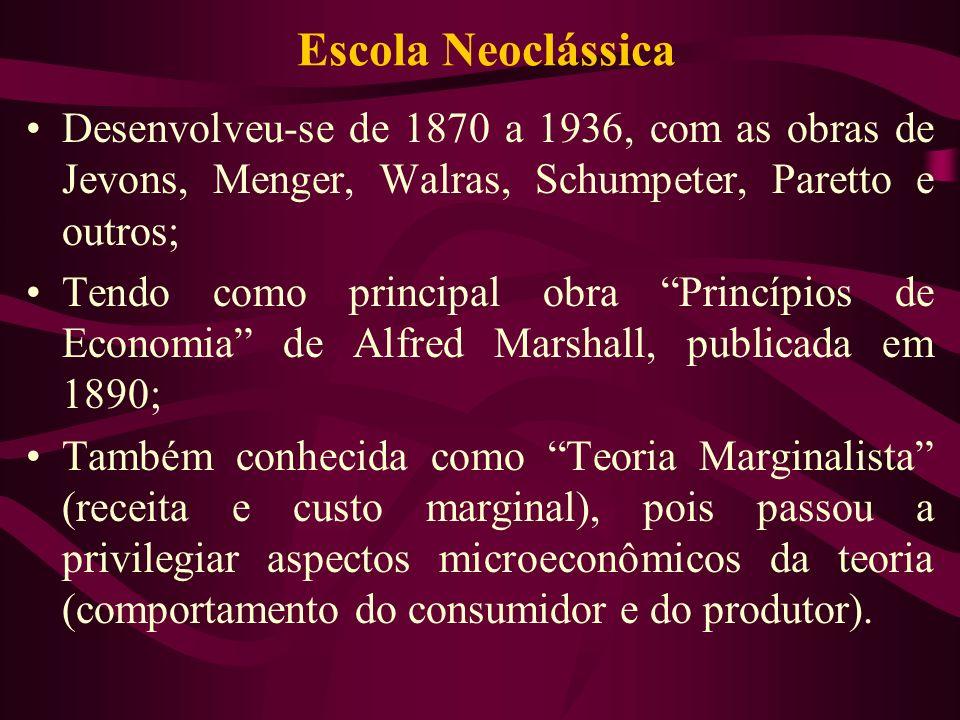 Escola Neoclássica Desenvolveu-se de 1870 a 1936, com as obras de Jevons, Menger, Walras, Schumpeter, Paretto e outros;