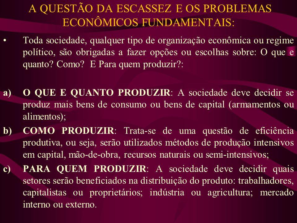 A QUESTÃO DA ESCASSEZ E OS PROBLEMAS ECONÔMICOS FUNDAMENTAIS: