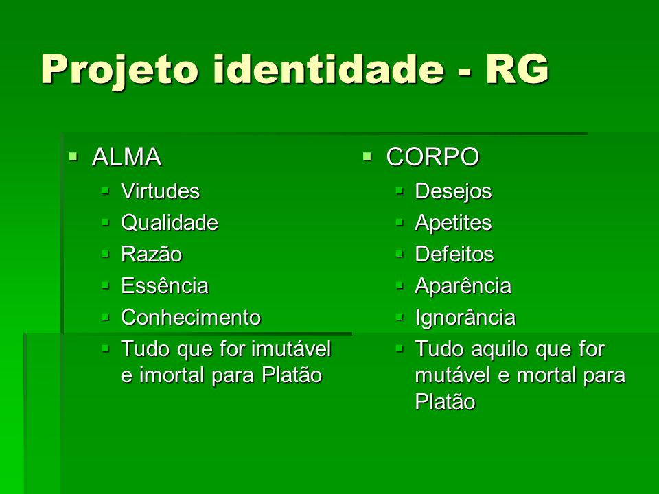 Projeto identidade - RG