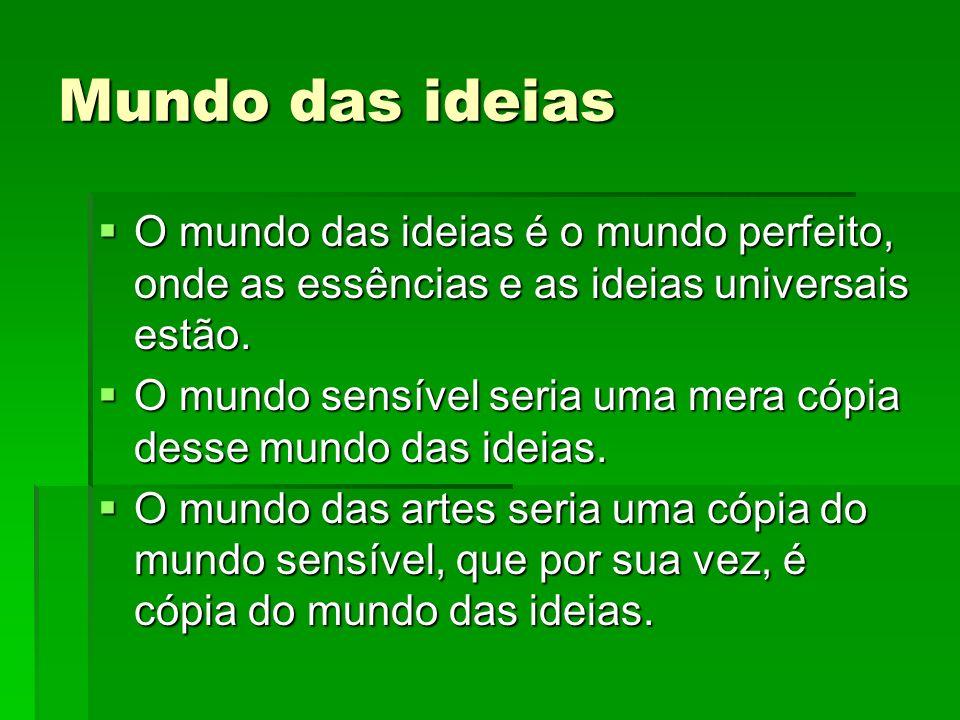 Mundo das ideiasO mundo das ideias é o mundo perfeito, onde as essências e as ideias universais estão.