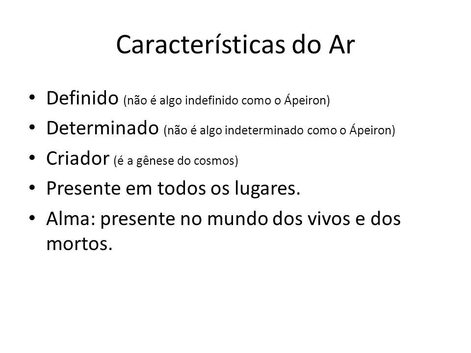 Características do Ar Definido (não é algo indefinido como o Ápeiron)