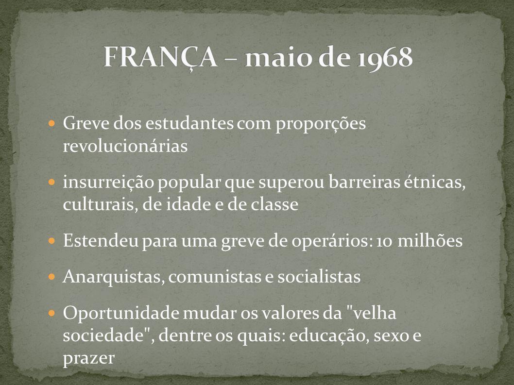 FRANÇA – maio de 1968 Greve dos estudantes com proporções revolucionárias.