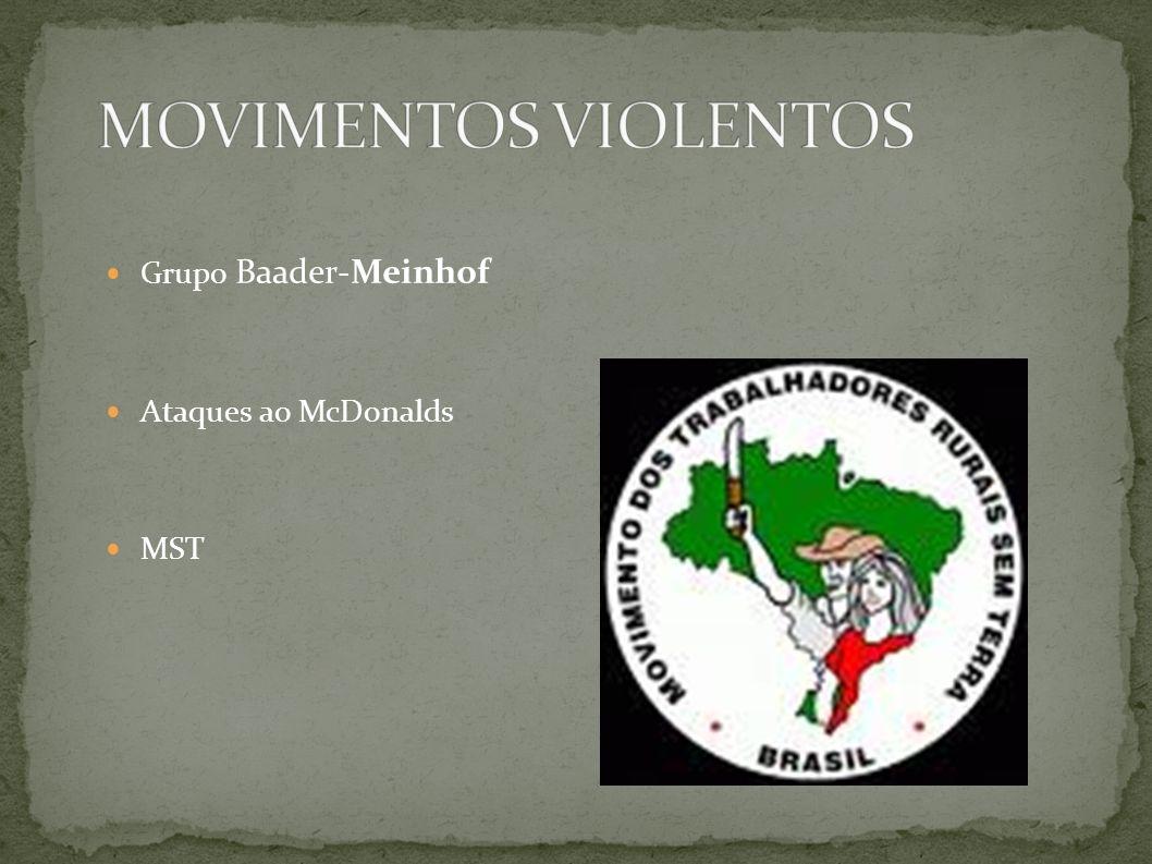 MOVIMENTOS VIOLENTOS Grupo Baader-Meinhof Ataques ao McDonalds MST