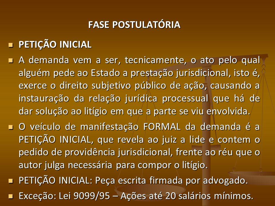FASE POSTULATÓRIA PETIÇÃO INICIAL.