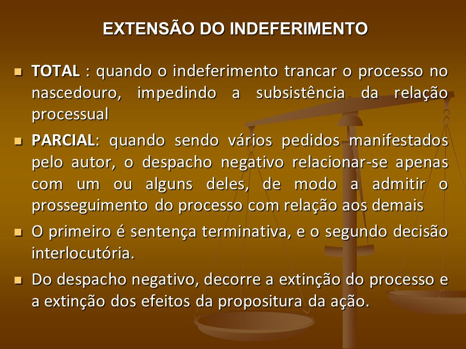 EXTENSÃO DO INDEFERIMENTO