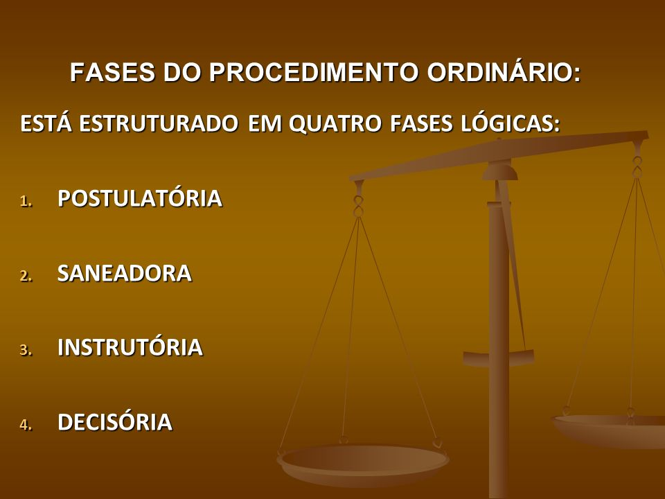 FASES DO PROCEDIMENTO ORDINÁRIO: