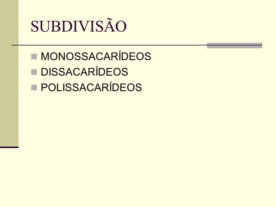 SUBDIVISÃO MONOSSACARÍDEOS DISSACARÍDEOS POLISSACARÍDEOS